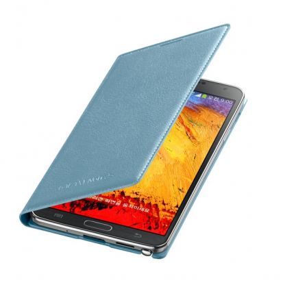 Samsung Flip Wallet Cover - оригинален кожен калъф за Samsung Galaxy Note 3 N9005 (син)