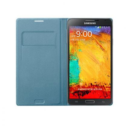 Samsung Flip Wallet Cover - оригинален кожен калъф за Samsung Galaxy Note 3 N9005 (син) 3
