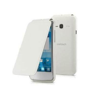 Alcatel Flipcover FC5020 - кожен кейс за Alcatel One Touch 5020 (бял)