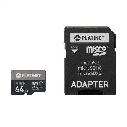 Platinet MicroSDXC Secure Digital + Adapter SD 64GB UIII A1 - памет карта със SD адаптер (клас 10)