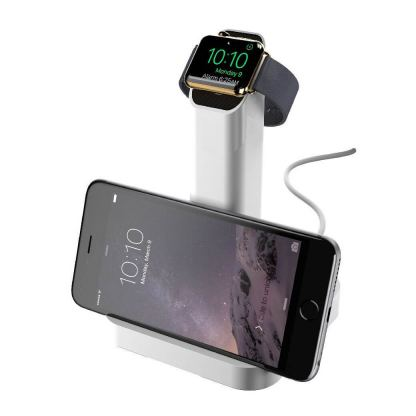 Griffin WatchStand Charging Dock - поставка за Apple Watch и iPhone (сребрист) 3