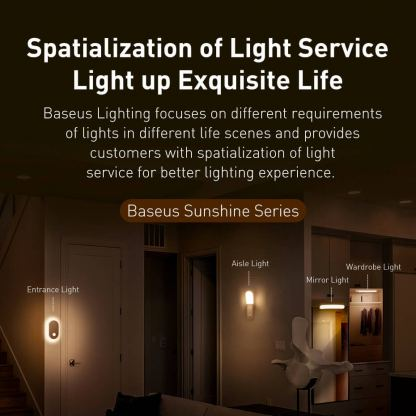 Baseus Sunshine Series Human Body Induction Wardrobe Light - нощна LED лампа (топла светлина) 13