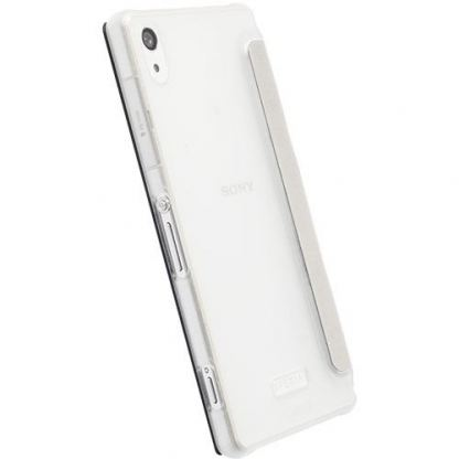 Krusell Boden Flip cover - кожен калъф, тип портфейл за Sony Xperia Z2 (бял) 3