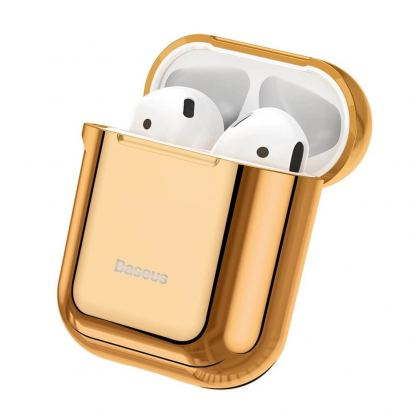 Baseus Shining Hook Silica Gel Case - силиконов калъф за Apple Airpods & Apple Airpods 2 (златист)