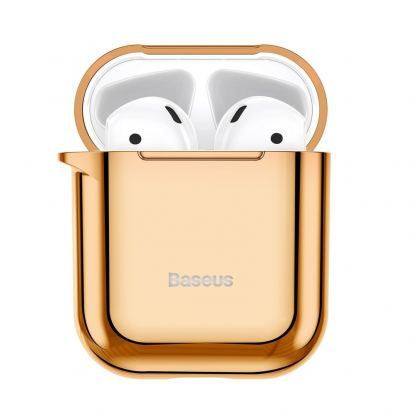 Baseus Shining Hook Silica Gel Case - силиконов калъф за Apple Airpods & Apple Airpods 2 (златист) 3