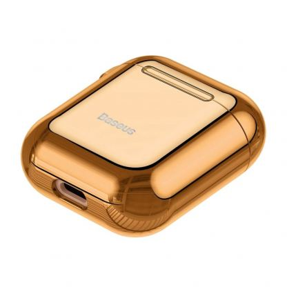 Baseus Shining Hook Silica Gel Case - силиконов калъф за Apple Airpods & Apple Airpods 2 (златист) 6