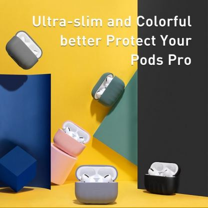 Baseus Shell Pattern Silica Gel Case - силиконов калъф за Apple Airpods Pro (зелен) 2