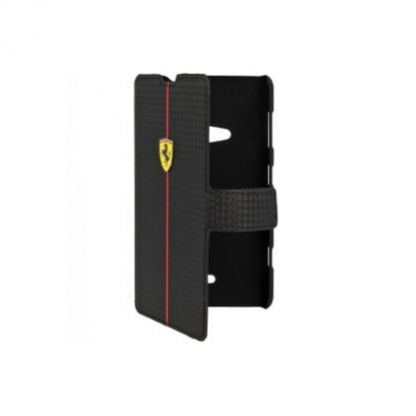 Ferrari Formula One Carbon Flip Case - кожен флип кейс тип портфейл за Nokia Lumia 625 (черен)
