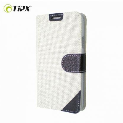 TIPX Clothy Collection - текстилен калъф тип портфейл и поставка за Samsung Galaxy S5 SM-G900 (бял)