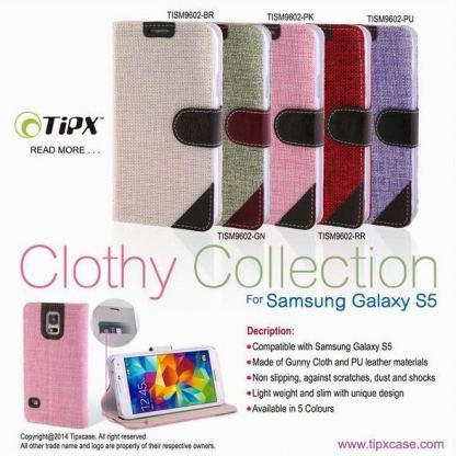 TIPX Clothy Collection - текстилен калъф тип портфейл и поставка за Samsung Galaxy S5 SM-G900 (бял) 2