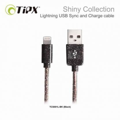 TIPX Sync and Charge Lightning Shiny - Lightning кабел за iPhone, iPad, iPod (1 метър) (черен)