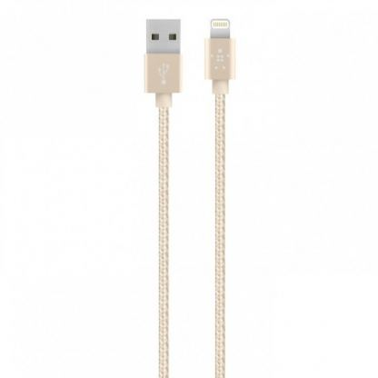 Belkin Lightning to USB Cable - USB кабел за iPhone 5, iPhone 5S, iPhone 5C, iPod Touch 5, iPod Nano 7, iPad 4 и iPad Mini, iPad Mini Retina (златист)