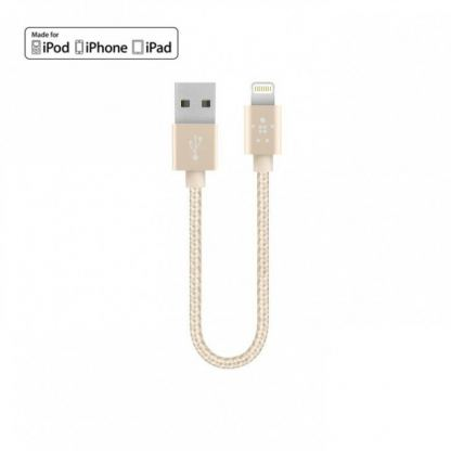 Belkin Lightning to USB Cable - USB кабел за iPhone 5, iPhone 5S, iPhone 5C, iPod Touch 5, iPod Nano 7, iPad 4 и iPad Mini, iPad Mini Retina (златист) 2