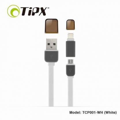 TIPX 2in1 Micro USB & Lightning Charge & Sync Cable - кабел за Apple и устройства с MicroUSB (бял)