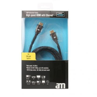 AM Professional High speed HDMI with Ethernet - професионален HDMI към HDMI кабел 2м. (черен) 3
