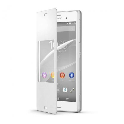 Sony Style Cover SCR24 - кожен кейс и поставка за Sony Xperia Z3 (бял) 2