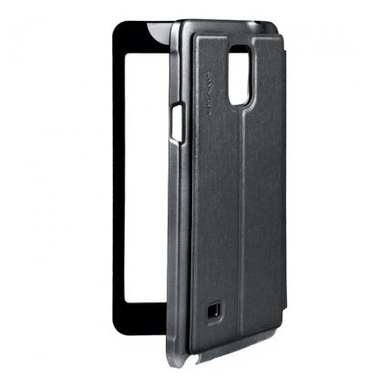 USAMS Flip-Case Touch Series - калъф, тип портфейл за Samsung Galaxy Note 4 (сив) 2