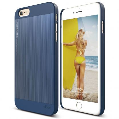 Elago S6P Outfit Aluminum Matrix + HD Clear Film - алуминиев кейс и HD покритие за iPhone 6/6S Plus (син)