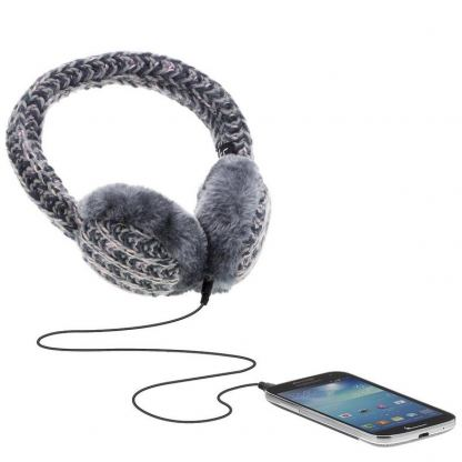 KitSound On-Ear Multi Lurex Knit Audio Earmuffs - ушанки с вградени слушалки с 3.5 мм аудио жак за iPhone и мобилни устройства (сив) 2