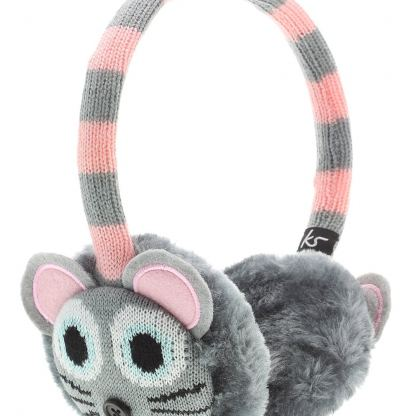 KitSound On-Ear Mouse Knit Audio Earmuffs - ушанки с вградени слушалки с 3.5 мм аудио жак за iPhone и мобилни устройства (сив) 3