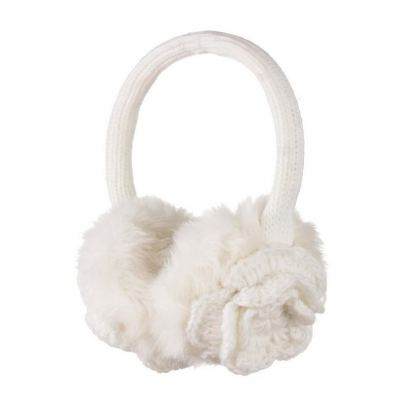 KitSound On-Ear Flower Knit Audio Earmuffs - ушанки с вградени слушалки с 3.5 мм аудио жак за iPhone и мобилни устройства (бял)