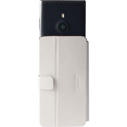 Krusell Malmo FlipWallet Slide 5XL - универсален кожен калъф, тип портфейл за iPhone 6/6S Plus, Galaxy A7, Galaxy Note 4, Xperia Z2 и други (бял)