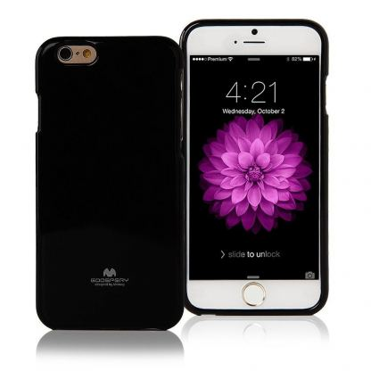 Mercury Goospery Jelly Case - силиконов (TPU) калъф за iPhone 6/6S Plus (черен)